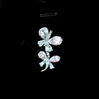 星光購買純銀水晶 雙 蝴蝶吊墜