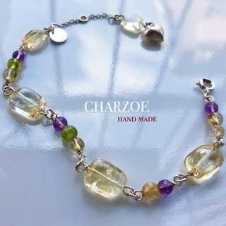 🚚 🌿🏹CHARZOE🏹🌿天然黃晶 橄欖石紫晶銀鏈