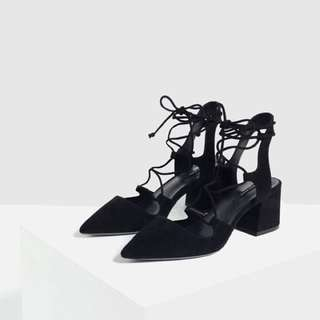 Zara Lace up Pointed Heels