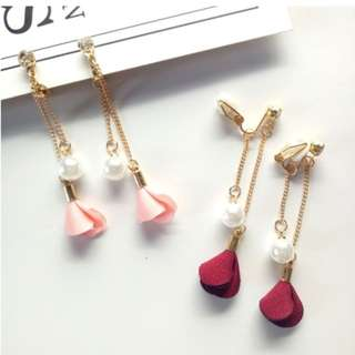 Fashion fabric flower pearl long tassel earrings