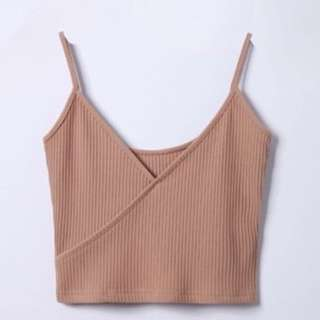 beige wrap crop