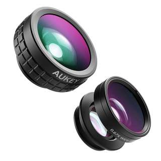 AUKEY 3-In-1 Optic iPhone Camera Lens, 180° Fisheye Lens + 110° Wide Angle + 10X Macro Mini Clip-on iPhone Lens Kit