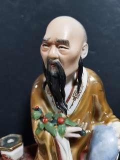 民国 粉彩人物 瓷雕。