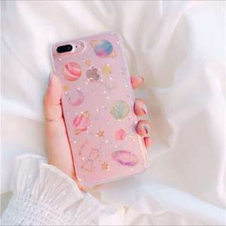 #804 harajuku cute galaxy planets transaprent iphone casing