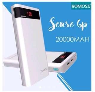 Original Romoss Sense 6P 20000mAh Dual Output LED Display Power Bank (White)