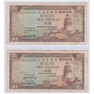 1981 & 1984 Macau 10 Yuan