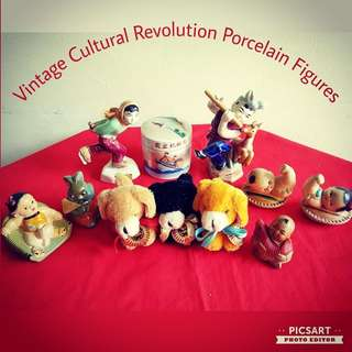 Rare Vintage Wen Ge Chinese Revolution Figurines, Clay or Porcelain. Detail as Below. You can also compare to the SGD1 coin for size. Good Condition.  All 11 items for $348 Clearance Offer, sms 96337309.