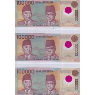 1999 Indonesia 100000 Rupiah Polymer UNC x 3