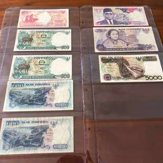 Assorted Indonesia Rupiahs x 8