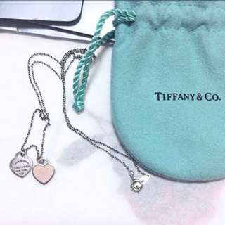 Tiffany & co. Necklace pink heart sliver