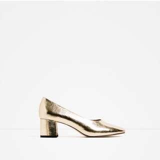 🚚 Zara 淡金色跟鞋35