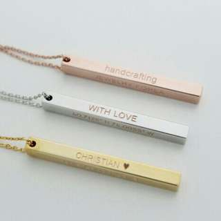 [PREORDER] Custom Engraved Personalised Stick Bar Necklace