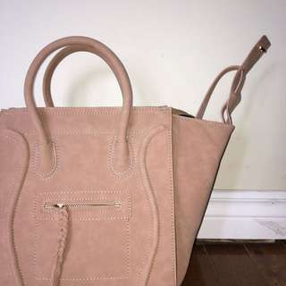 2way taupe suede bag