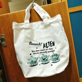 Grace gift X Disney 聯名 三眼怪帆布包 迪士尼玩具總動員 肩背/手提 兩用式帆布包 環保購物袋 便當袋