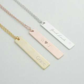 [PREORDER] Custom Engraved Vertical Personalised Bar Necklace