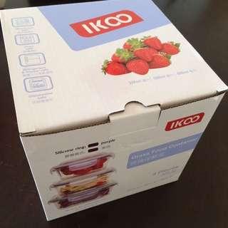 Ikoo 玻璃食物盒 3件 glass food container