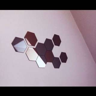 Hexagon Mirror Wall Decor