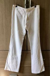 White Weave Fabric Pants With Drawstrings