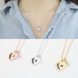 [PREORDER] Custom Engraved Personalised Initial Heart Necklace