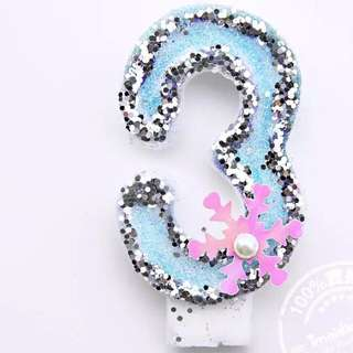 """Beautifully Craved Numeric """"3"""" Bday Candle"""