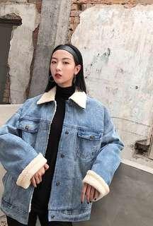 Denim wool outerwear