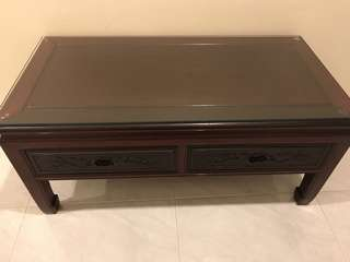 Small Rosewood Coffee Table with Birds Carvings
