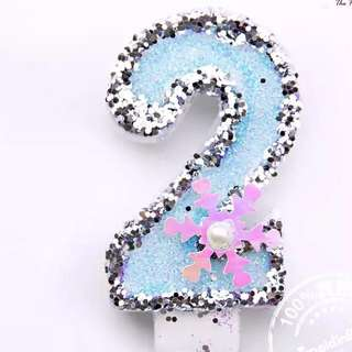 "Beautifully Craved Numeric ""2"" Bday Candle"