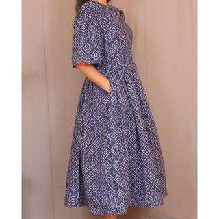 Gathered Indigo Midi Dress