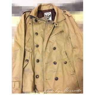 【美國帶回】FrankyMax卡其色米色騎士軍裝外套型男必備S號 美國代購 美國進口 (近全新)