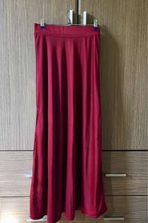 Maroon Maxi Satin Skirt With Slit