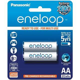 Panasonic Eneloop White 2 x AA Rechargeable Batteries