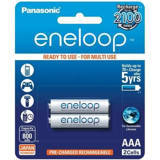 Panasonic Eneloop White 2 x AAA Rechargeable Batteries
