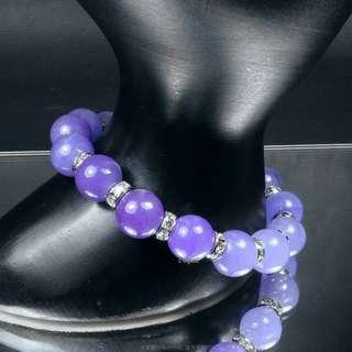 珍珠林~賠售出清不計成本~ 10m/m紫羅蘭玉手鍊.立體.巧妙#363