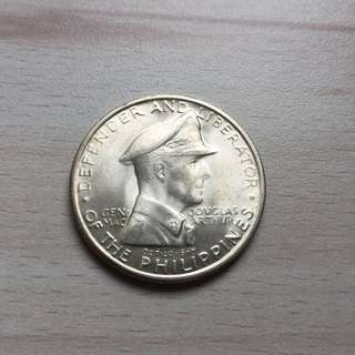 Philippines 1947 BU General MacAuthur 1 peso large silver coin