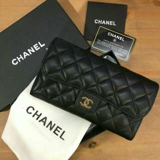 Chanel Long Leather Wallet Black