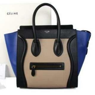 celine large luggage tricolor beige blue black