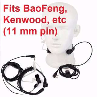 New stock! Military grade, Throat Mic PTT Earpiece for Kenwood BAOFENG UV-5R Baofeng BF-888S Retevis WOUXUN WLN TYT QUANSHENG Ham Radio