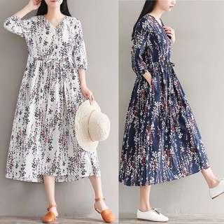 (M~2XL) 2018 V-neck spring and summer loose vintage floral floral cotton dress skirt