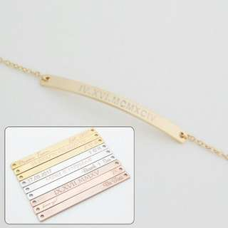 [PREORDER] Custom Engraved Personalised Roman Numeral/Coordinate Curved Bar Bracelet