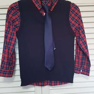Checkered Polo, Vest and tie