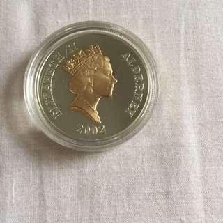 Alderney Queen Elizabeth 5 Pounds large silver proof coin