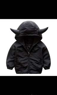 Unique horn shape hoodie windbreaker jacket kids jacket