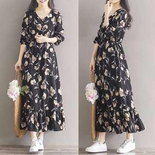 (M~2XL) 2018 Vintage chiffon long dress V-neck print long-sleeved dress