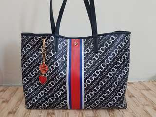 Tory Burch Gemini Link Tote Large Navy Bias