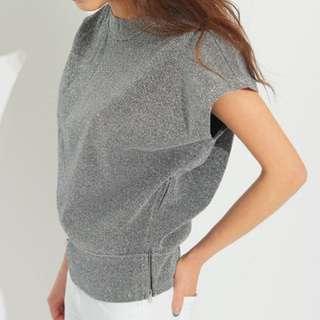 Back Zipper O-Neck Batwing Sleeve T-Shirt Casual Shirt