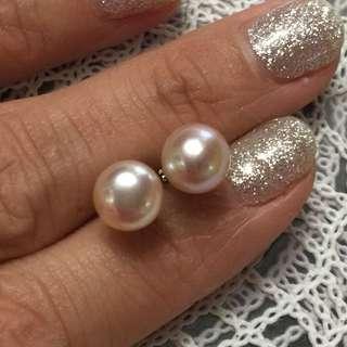 925 silver 7mm pearl earring   925純銀7mm珍珠耳環