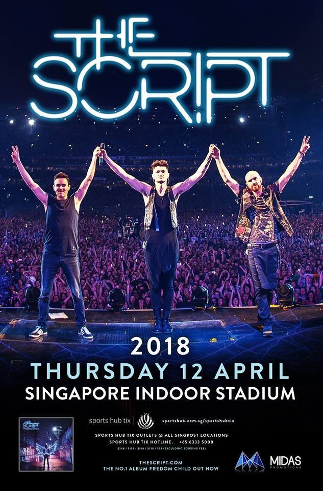 2 Tickets to The Script live in Singapore