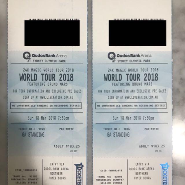 2x GA Bruno Mars Tickets Syd Sunday 18th March