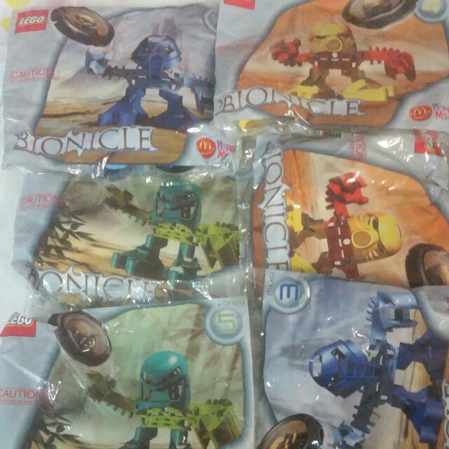6 x bionicle lego 2002 mcdonalds toy bags