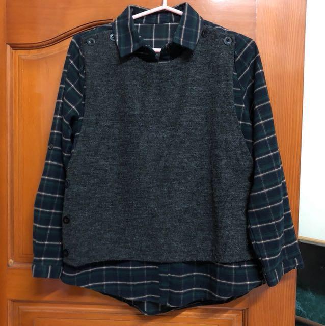 綠色法蘭絨格紋假兩件襯衫